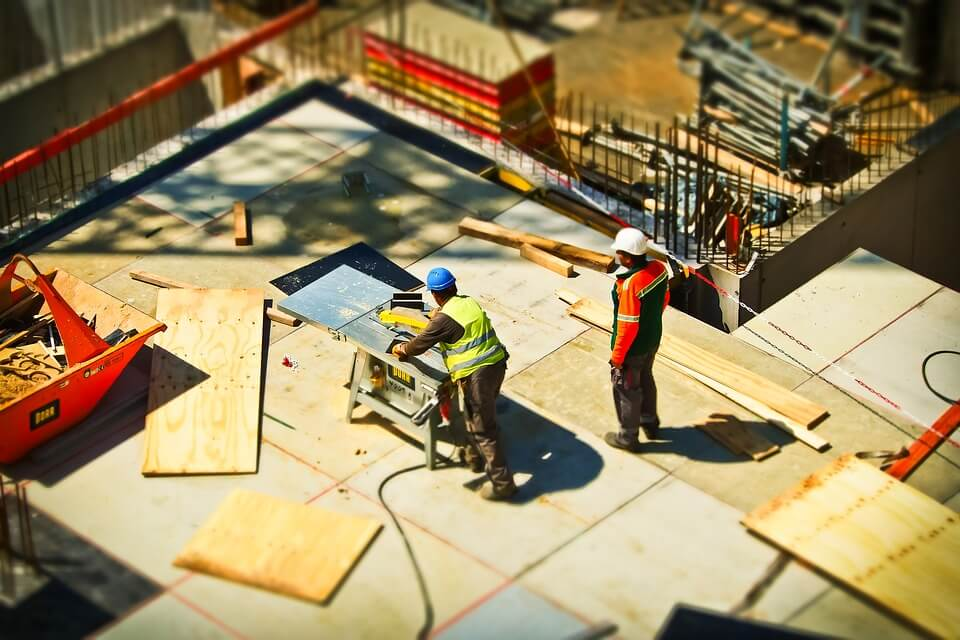 construction workers on a home construction site