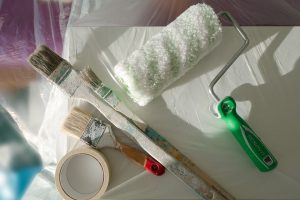 paint brushes on table